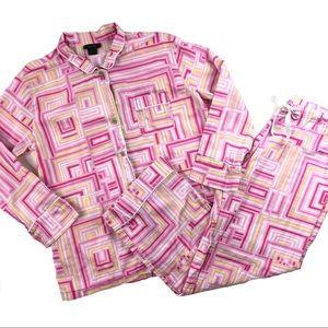 Natori pajama set pjs pink yellow top pants large